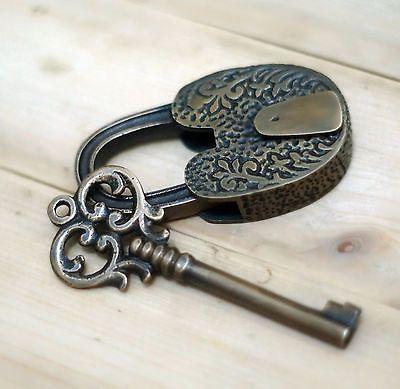 Antique Long Neck Flowers Carved PADLOCK with BIG SKELETON Key Solid Brass Lock