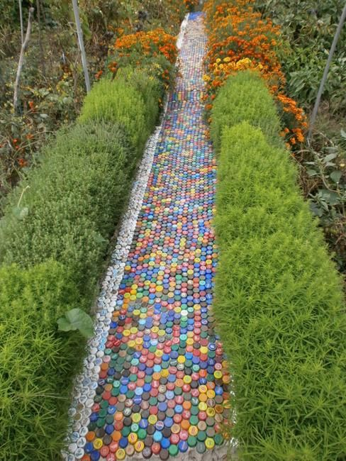 walkway made with plastic bottles caps                                                                                                                                                                                 More