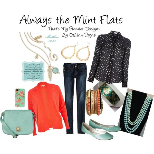 """This is my Polyvore version of my favorite outfit!  """"Always the Mint Flats, Ladies"""" by delinn-premierdesigns on Polyvore"""