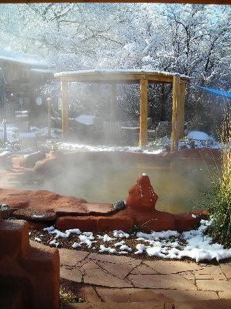 It's winter in the Jemez! Giggling Hot Springs near Santa Fe NM. Great time to soak in a Hot Spring Pool!