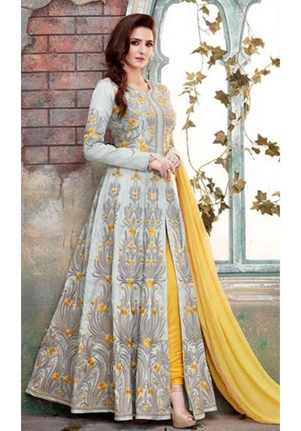 Grey and Yellow Designer Wear Anarkali Suit