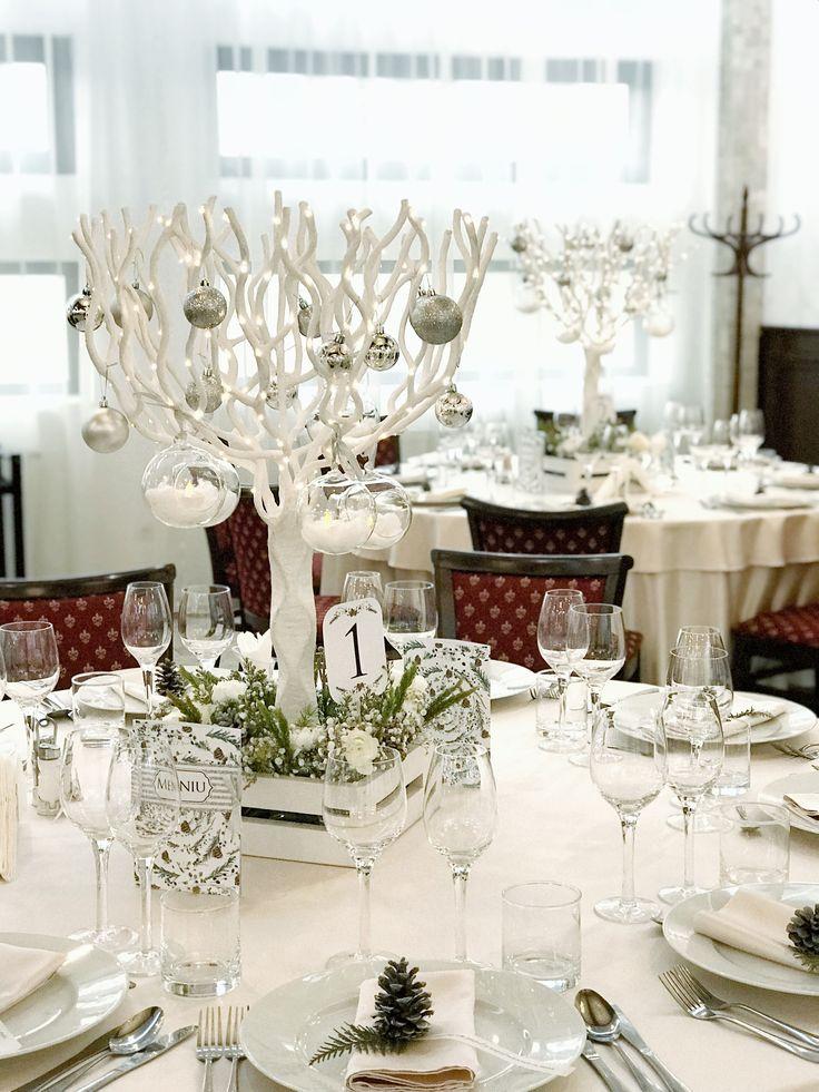 Winter fairytale wedding centerpiece
