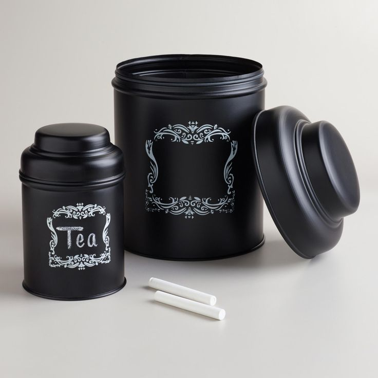These black chalkboard metal canisters are from World Market. Maybe spray a similar container (reused) with black chalkboard paint for a similar effect and use it for a compost counter bin.