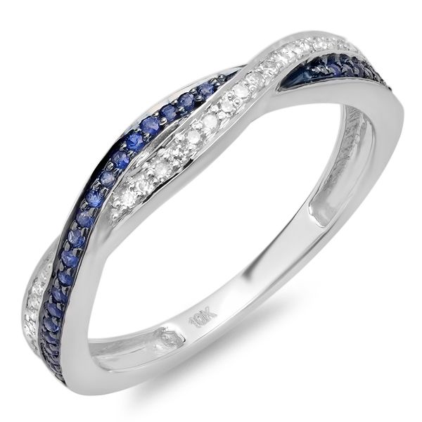 Carat Ctw White Gold Round Diamond And Blue Sapphire Ladies Stackable Anniversary Wedding Band Swirl Ring CT