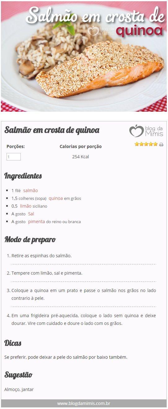 Salmão em crosta de quinoa - Blog da Mimis - Receita que emagrece e melhora o…