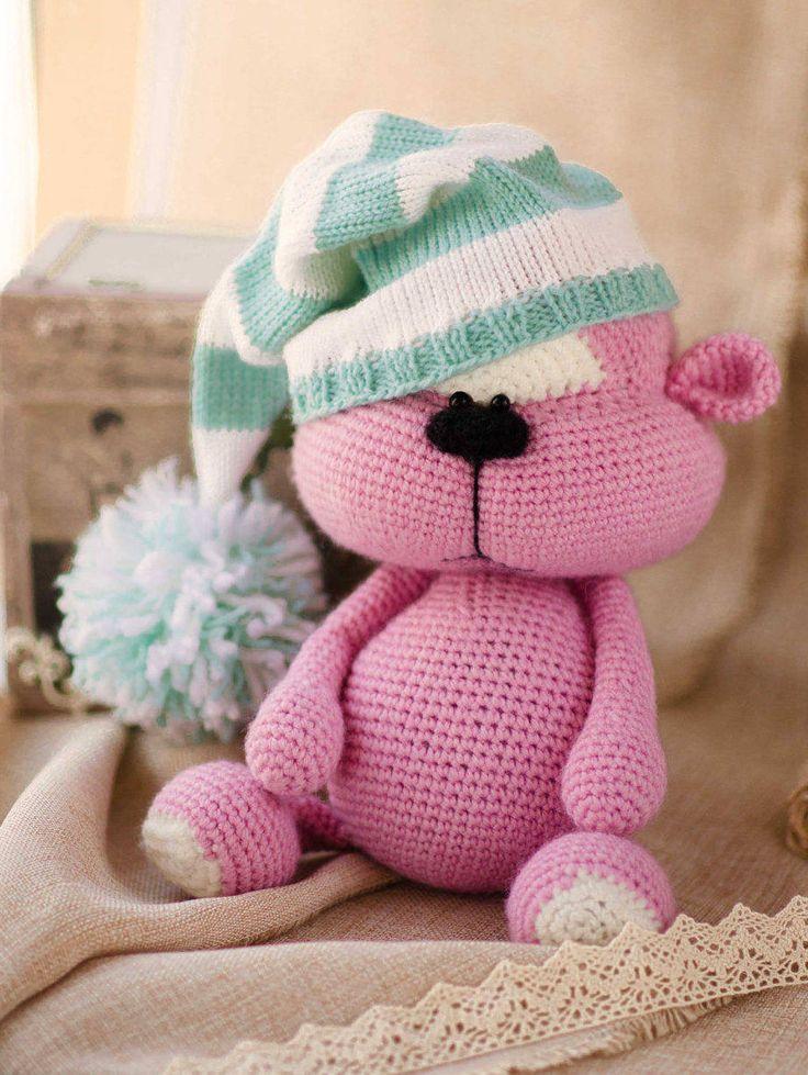 Punk Bear in striped hat Crochet Toy bear Amigurumi Doll bear stuffed toy Handmade crochet bear toy large bear plush bear Easter decor by MiracleStore on Etsy