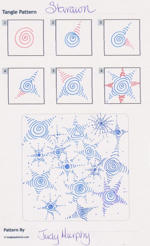 Online instructions for drawing Judy Murphy's Zentangle® pattern: Starawn.