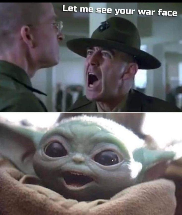 Baby yoda war face   Star wars memes, Military memes ...