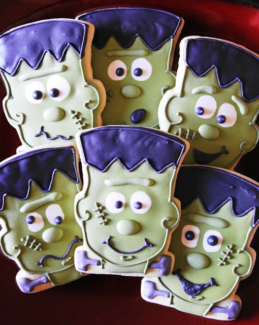 frankenstein cookies via thecookiecuttercompany - Halloween Cookies Decorating Ideas