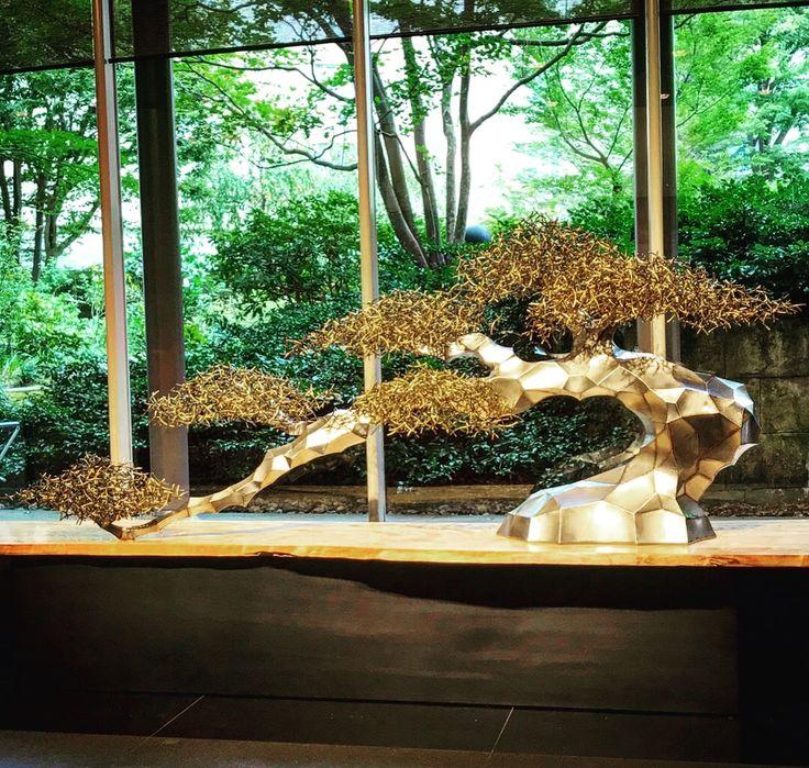 sus effect Grand Prince Hotel Kyoto Entrance monument -bonsai effect- all sus304 stainless steel  www.nobuyukiyoshimoto.com  #グランドプリンスホテル京都#エントランスモニュメント #盆栽 #grandprincehotelkyoto  #renewal #entrancemonument #bonsai #sus304 #stainless steel