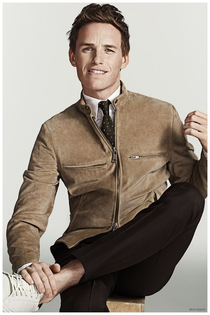 Eddie Redmayne trades out a blazer and sports a leather jacket from Todd Snyder. menswear, men's fashion and style