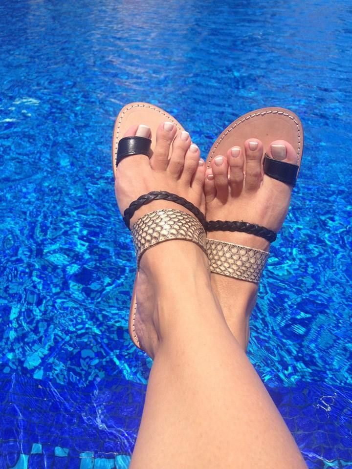 Leather & ORIGINAL snake sandals handmade by TREIS
