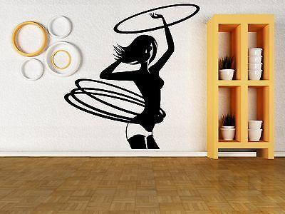 Wall Vinyl Sticker Decal Hula Hoop Girl Gymnastics Sports Fitness Gym (z3040)