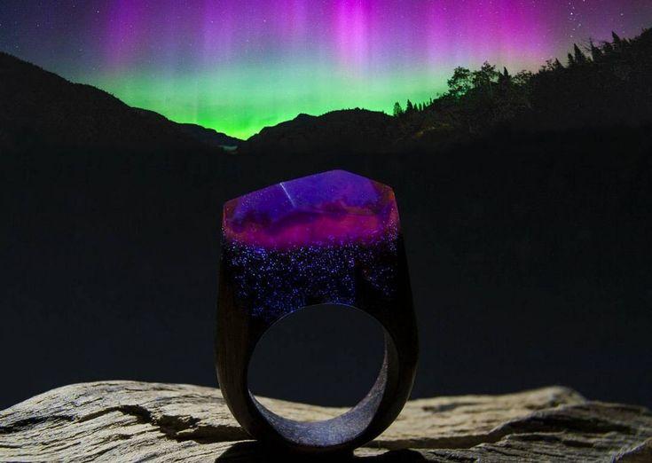 "Wooden Ring ""Aurora Borealis""  #greenwood #greenwoodring #secretring #magicrings #woodjewelry #woodrings #woodenrings #craft #customs #customring #auroraborealis #aurora"