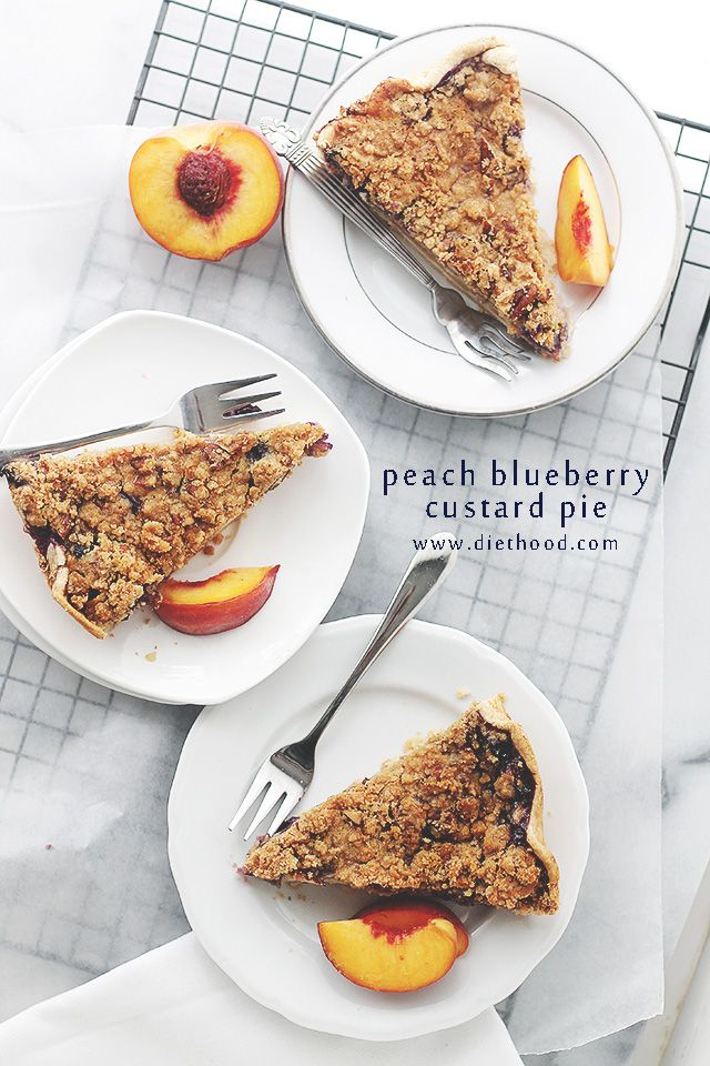 Peach Blueberry Custard Pie with Streusel Topping | www.diethood.com ...