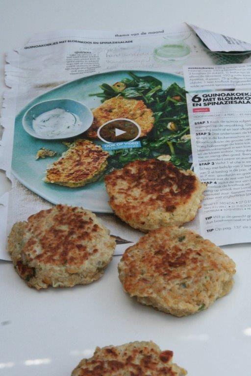 De quinoakoekjes met bloemkool uit de Allerhande. Een super lekker vegetarisch recept bomvol gezonde ingrediënten.