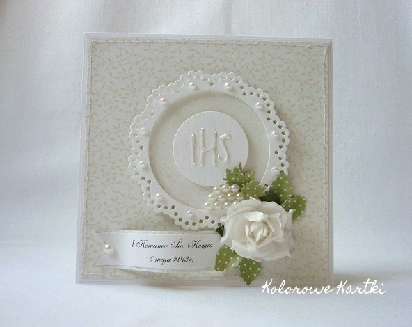 Light cream communion card