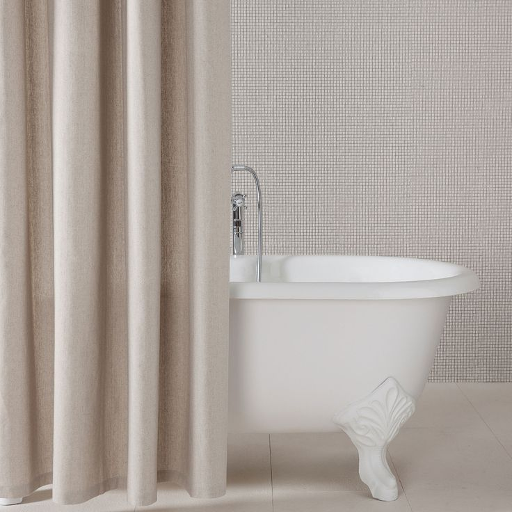 Sand Cotton And Linen Shower Curtain Shower Curtains