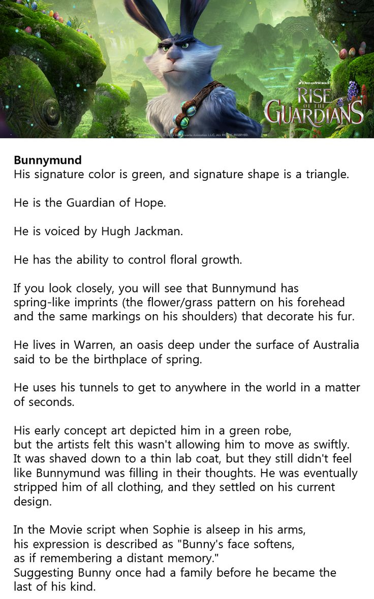 "Interesting Fact of Bunnymund #ROTG//I would say ""read the book"" but he isn't anything like from the book. He is way better in the movie."