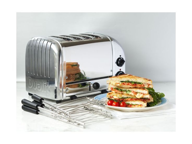 Polished 2+1 Combi Toaster - 3 Slot Sandwich Toaster with Sandwich Cage by Dualit
