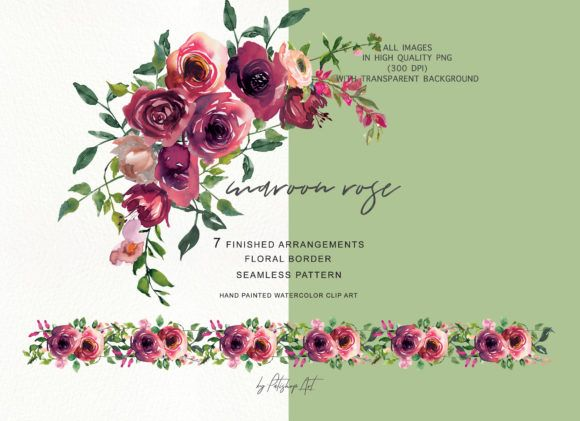 Watercolor Maroon Rose Clipart