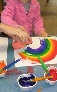 Rainbow sponge painting. Just paint rainbow colors on a sponge and give it to the kids. They *might* paint a rainbow.