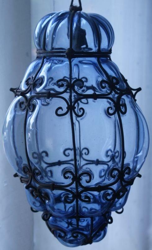 ✿ڿڰۣ(̆̃̃•Aussiegirl WROUGHT METAL CAGED, BLUE GLASS, ELECTRIC HALL LIGHT