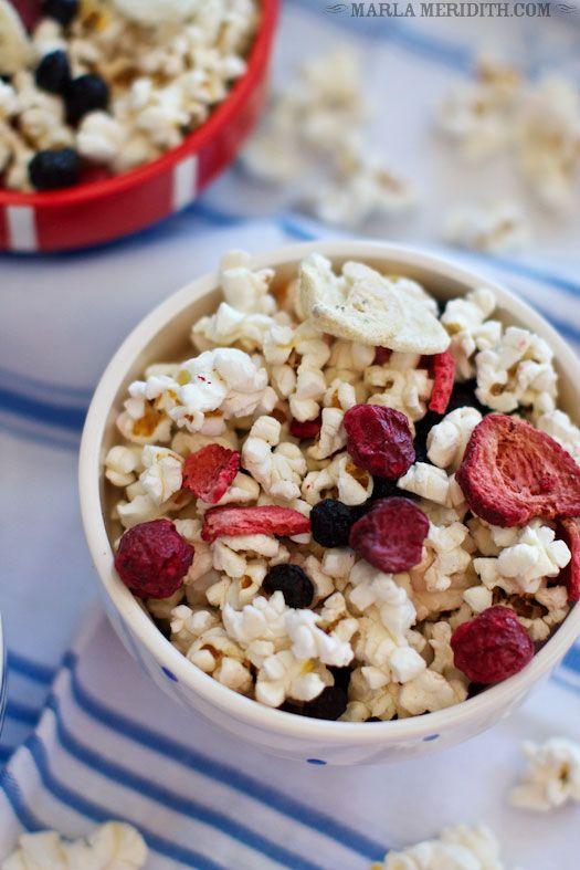 Tutti Frutti Popcorn (red, white & blue) | FamilyFreshCooking.com GREAT for July 4th!