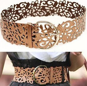 Image of [Glj10008]Sweet Leather Openwork Flower Shape Waist Belt For Women