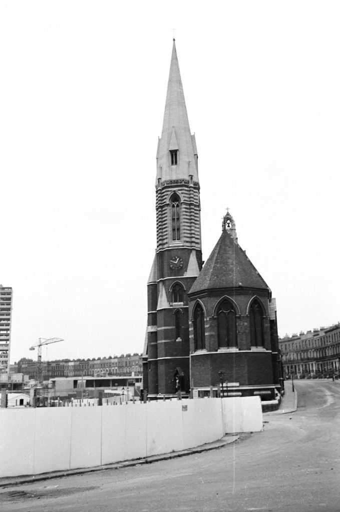 St Mary Magdalene church, Paddington surrounded by demolition sites (early 1960s)