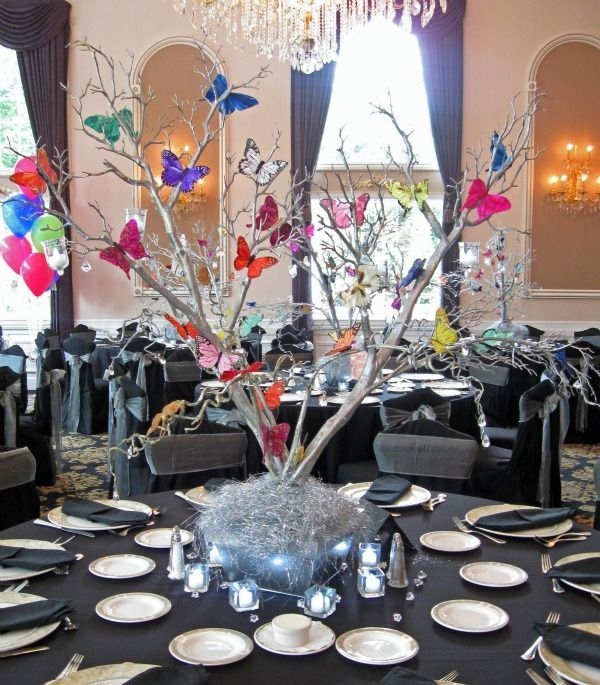 ideas for bat mitzvah centerpieces | Butterfly Party & Shower Theme Ideas - Centerpieces by Balloon ...