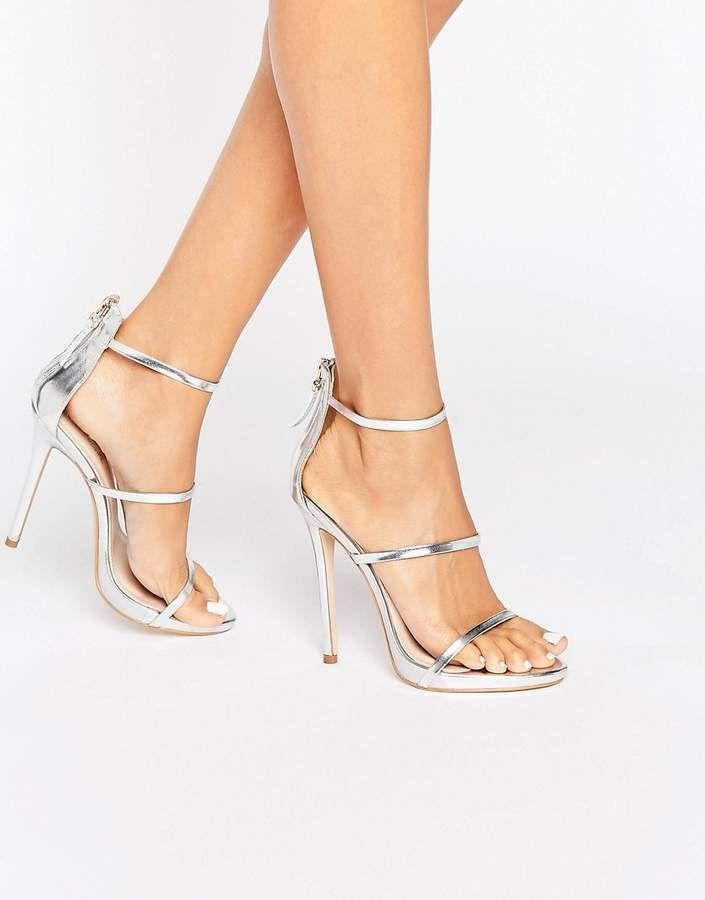 e42d746d43bd Public Desire Aisha Strappy Silver Heeled Sandals
