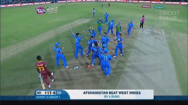 Afghanistan cricketers go crazy after they gave the Group 1 semifinalists West Indies a huge set-back this morning. 27.03.2016
