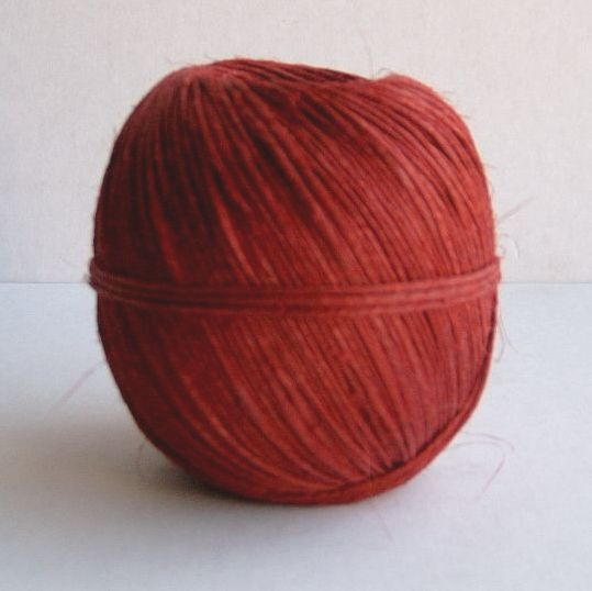 Dyed hemp twine ball 100 grams Approx 115metres Nm 2 2 5 . Made in Hungary our hemp strings and twines are a lovely and rustic with a slighty uneven quality
