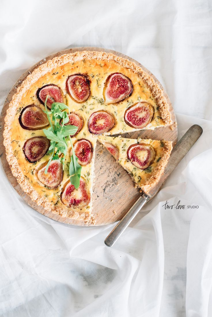 Fig Goats Cheese Almond Meal Tart - grain free base Two Loves Studio, food photography, food styling