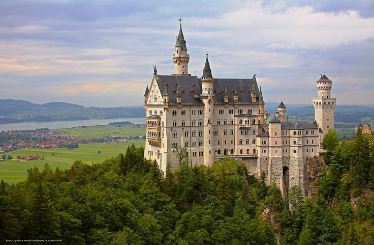 Neuschwanstein Castle, Bavaria, Germany, Замок Нойшванштайн, Бавария, Германия, замок, долина, деревья, панорама