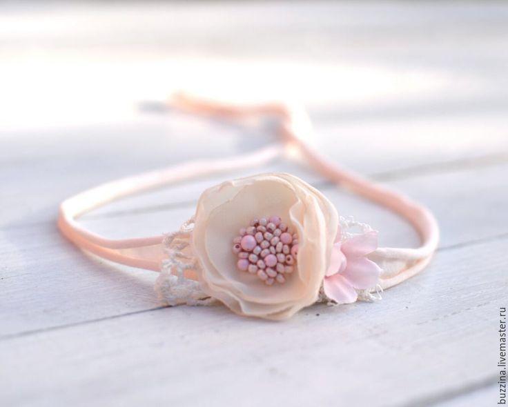 Купить Повязка на голову для новорожденной красивым цветком - реквизит, реквизит для фотосессии, фотореквизит, аксессуары для фотосессии