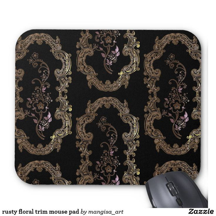 rusty floral trim mouse pad