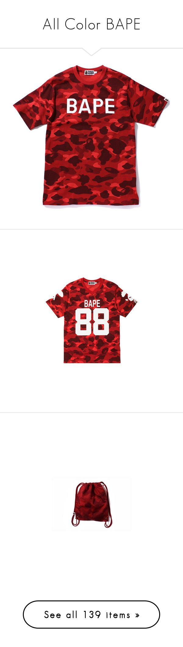 """All Color BAPE"" by xxxfasiontrendsxxx ❤ liked on Polyvore featuring tops, t-shirts, shirts, t shirt, t-shirt's, red camo shirt, camouflage shirts, cotton shirts, cotton tee and tee-shirt"
