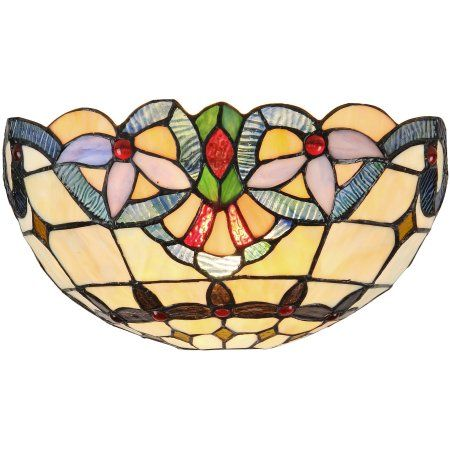 Chloe Lighting Cooper Tiffany-Style 1-Light Victorian Wall Sconce, 12 inch Wide, Multicolor