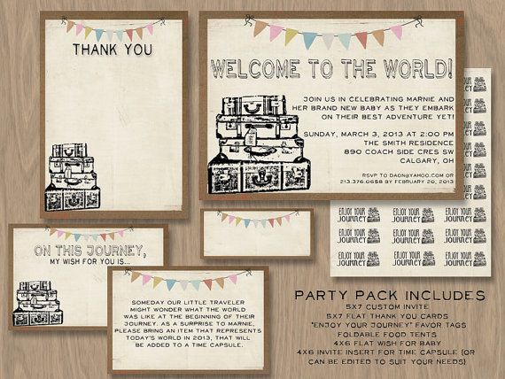 Baby Shower DIY 5x7 Printable invite  PARTY PACK - Vintage or Travel or New Adventure Theme