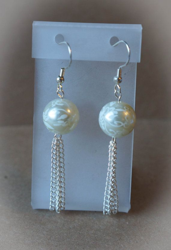 Pearl and Chain Dangle Earrings by OurFamilyTreasures3 on Etsy