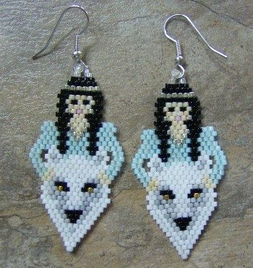 White Wolf With Maiden Earrings Hand Made Seed Beaded by wolflady, $25.00