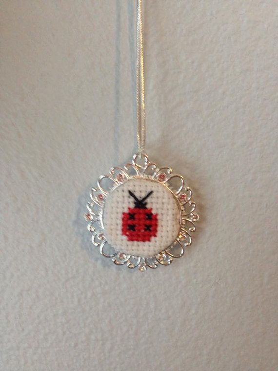 Cross Stitch Pendant Lady Bug by JollyHandmadeCrafts on Etsy