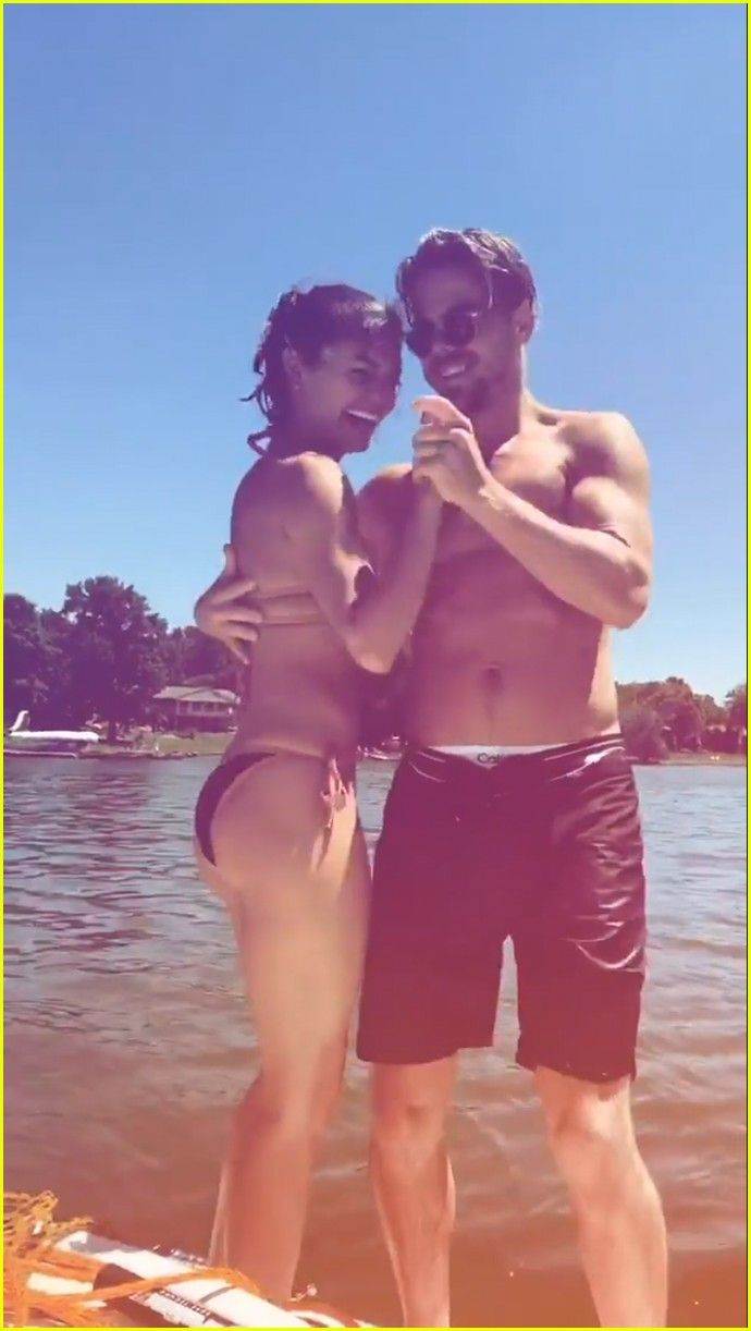 Derek Hough & Girlfriend Hayley Erbert Flaunt PDA at a Lake