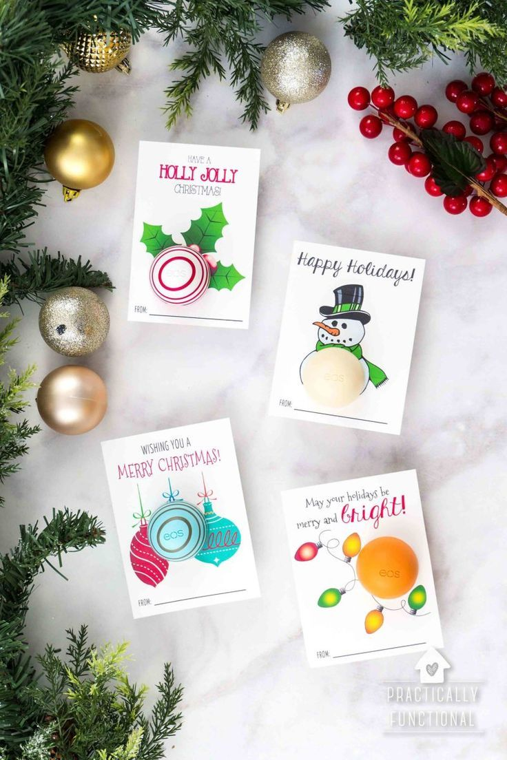 These free printable eos lip balm Christmas gifts are such a cute and easy gift idea! Whip up this simple five-minute Christmas gift for the perfect neighbor gift or easy gift for your kid's teachers. #eos #eoslipbalm #freeprintable #christmasprintables #freeprintablechristmas