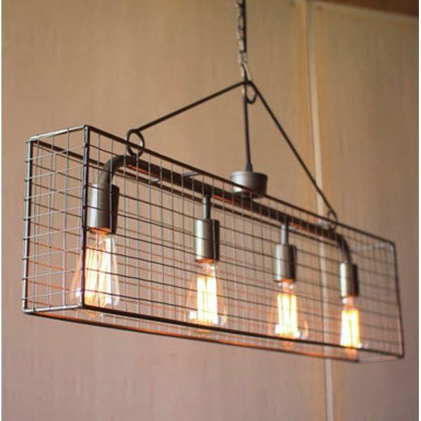 Kalalou Four Bulb Wire Mesh Horizontal Pendant Light In 2020 Iron Chandeliers Cage Pendant Light Iron Lighting