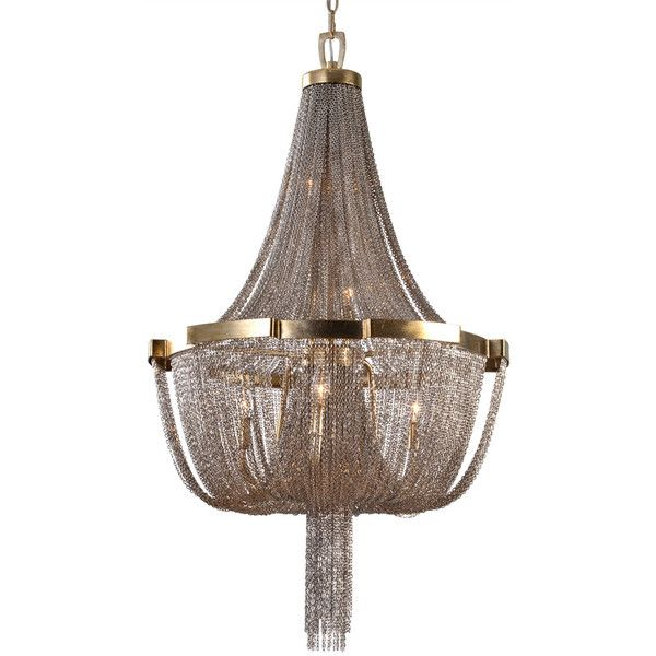 Large Jewelry Chain Chandelier (14 445 SEK) ❤ liked on Polyvore featuring home, lighting, ceiling lights, semi flush mount lighting, semi flush mount chandelier, chain lighting, semi flush chandelier and chain chandelier lighting