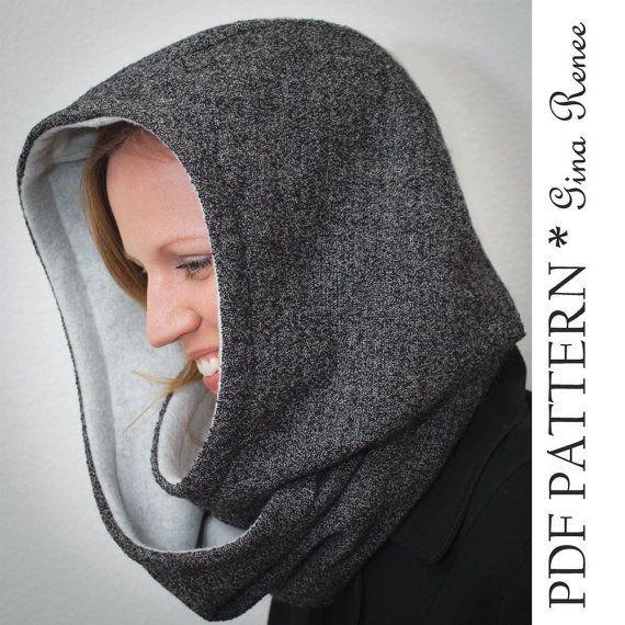 Patrón de bufanda con capucha. Patrón de por GinaReneeDesigns