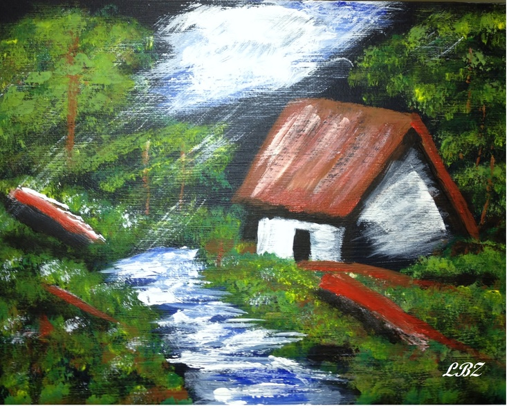 Cabin by The River  Acrylic on Canvas  Aug.2012